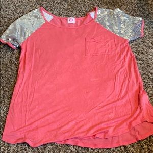 loose pink and glitter t-shirt top